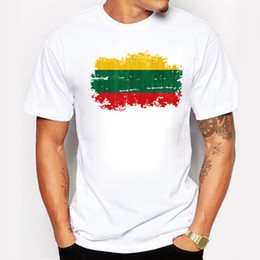 Wholesale Mens Flag T Shirt - Excellent Quality Cotton T Shirt Men Clothing Basic Mens T-shirts Print Lithuania National Flag Nostalgic Style Tshirt