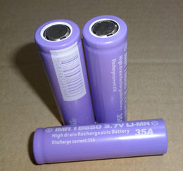 Wholesale Ups Battery Wholesale - High-Quality purple IMR 18650 Batteries 35A 2500mAh flat top lithium For Electonic Cigarette FEDEX UPS Free