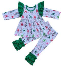 Wholesale Boutique Ruffle Pants Wholesale - Spring and Autumn Girls T-shirt Ruffle Pants Set Reindeer Print Christmas Girls Clothing Set Stella Boutique Clothing Set