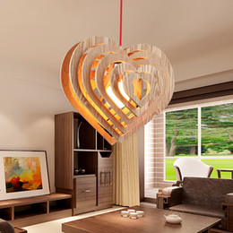 Canada Wood Lamp Restaurant Bedroom Living Room Pendant Light LED Romantic Heart Shape Retro Creative OAK