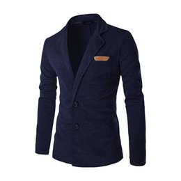 Wholesale Mens Casual Fashion Blazer - Wholesale- 2017 New Men Blazer Fashion Slim Casual Blazer For Men Brand Mens Suit Jacket Outerwear Male 5 Colors XXL UWS34