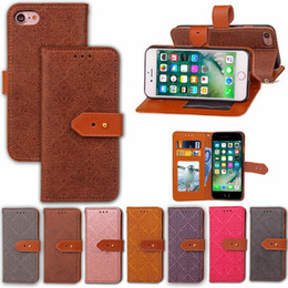 Wholesale Iphone Wholesale Europe - Europe Embossed Leather Wallet Phone Case For iphone6 6S 7 Plus Mural pattern Leather Cover Case With Stand Card slot