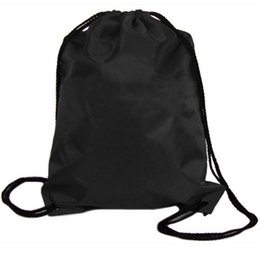 Wholesale Nylon Drawstring Bags Wholesale - Wholesale- 1PC Boys Girls Women's New Nylon Drawstring Cinch Sack Travel Backpack Bags Black