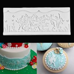 Wholesale Design Cake Mold - New Designed Silicone Fairy Angle Lace Fondant Mould Icing Mold Bake Sugarcraft Cake Decorating 3 Styles Random Colors