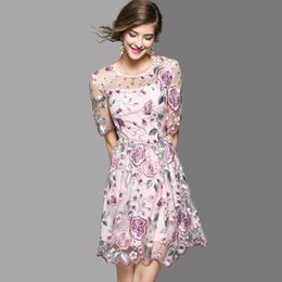 Wholesale Floral Mesh Dress - High-End Dresses 2018 Summer High Quality Fashion Petal Short Sleeve Pretty Floral Embroidery Mesh Women Dress