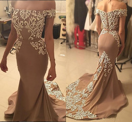 Wholesale Embroidered Dress Pearls - 2017 Gorgeous Mermaid Evening Dresses Bateau Neck Off Shoulder Embroidered Satin Champagne Brown Arabic Dubai Formal Dresses Long Prom Dress