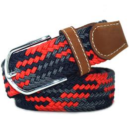 Wholesale Wholesale Rubber Waistband - Wholesale- 120cm Stretch elastic rubber Belt Alloy Pin Buckle Woven Waistband for Men Women 10 styles
