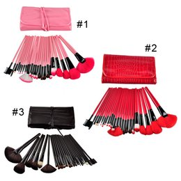 Wholesale Makeup Brush Set Red - Professional Makeup Brushes Set 24pcs Portable Full Cosmetic Make up Brushes Tool Foundation Eyeshadow Lip brush with Bag (0605053)