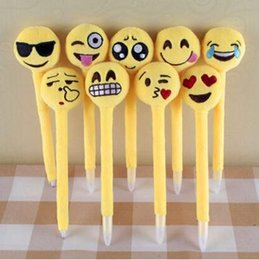 Wholesale Cheap Christmas Toys For Kids - 2017 Emoji Ballpoint Pens for Children Kids Cute Plush Toy QQ Expression Pen Office School Boys Girls Cartoon Pen Cheap Christmas Gift