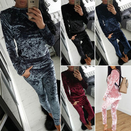 Wholesale Ladies Pajamas Xl - Womens Ladies Crushed Velvet 2Pcs Tracksuit Sweatshirt Pants Sets Pajamas Sport Suit Activewear Outfit Outwear