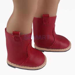 Medias muñecas online-Spmart recién llegados Fashion Dolls Half Boots zapatos de tacón plano para 18 pulgadas 42-45cm 1/4 American Girl Dolls Accesorios