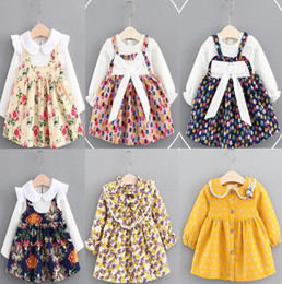 Wholesale Fake Dress - 12 color INS Korean styles new arrival kids spring autumn little flower plaid printed Fake two pieces Cotton Dress girl casual dress