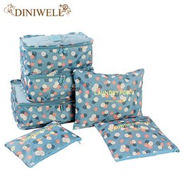 Wholesale Folding Fabric Storage Cubes - Wholesale- DINIWELL 6 PCS Travel Suitcase Closet Divider Container Storage Bag Set For Clothes Tidy Organizer Packing Cubes Laundry Bag