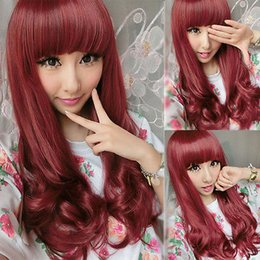 Wholesale Long Red Curly Hair Wigs - New Womens Night Girl Long Wavy Curly Wine Full Hair Party Full Cosplay Wigs Red free shipping