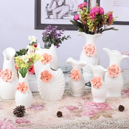 Wholesale Wholesale White Ceramic Vase - Jade ceramic vase simple modern white red flower home living room craft jewelry ornaments can be installed water culture vase