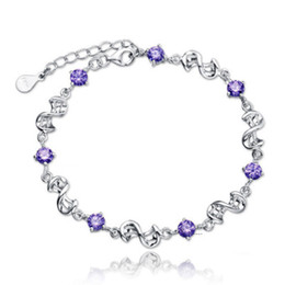 Wholesale Sterling Silver Heart Lobster Clasps - Summer Beach Women 30% 925 Sterling Silver Crystal Jewelry Purple and White Amethyst Charm Bracelet for Valentine's Day Small Gift