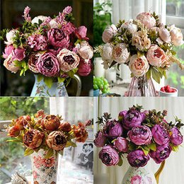 Wholesale Silk Wedding Flower Calla - Wholesale- Artificial Peony Silk Flower Bouquet Home Party Wedding Decoration