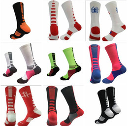 Wholesale Elite Football Socks - 23 colors USA new knee high elastic crew socks elite basketball football soccer sport long tube crew sock terry towel kd socks for men