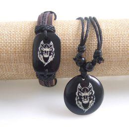 Wholesale Necklace Surfer - Wholesale- 1 Set Men's Genuine Leather Tribal Wolf Totem Surfer Necklace Bracelet Wristband Cuff
