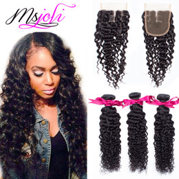 Wholesale Lace Closures Queen - 7A Mongolian human virgin hair weave deep wave natural color 4x4 lace closure queen with three bundles and three parts from Ms Joli