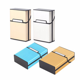 Wholesale Light Boxes Aluminum - Home Use Light Aluminum Cigar Cigarette Case Tobacco Holder Pocket Box Storage Container 6 Colors Smoking Pouch Gift ZA2398