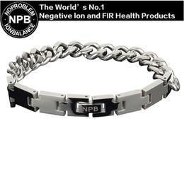 Wholesale Germanium Ion Bracelet - Wholesale- P049 L(24cm) Noproblem Ion balance fashion jewelry germanium magnetic health therapy charm men power bracelet