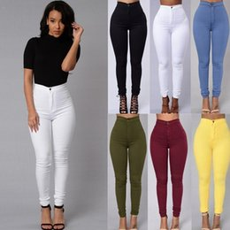 Wholesale white high waist jeans - New 2016 Women's Trousers Fashion Candy Color Skinny Pants High Waist Pencil Stretch Pants Female Slim Skinny Trousers Plus Size Calca Jeans