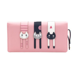 Wholesale Magic Purses - PU Leather Women Wallet Female Long Clutch Lady Walet Portomonee Rfid Luxury Brand Money Bag Magic Zipper Coin Purse Cat Wallets