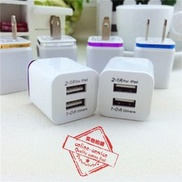 Wholesale Plug Adapter Home - Metal Home Charger US EU Plug Dual USB 2.1A AC Power Adapter Wall Charger Plug 2 Ports For Samsung Galaxy S6 LG Tablet iPad iPhone 6s 7