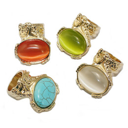 Wholesale Gold Plated Knuckle Rings - Newest trendy big statement arty knuckle armour chunky finger opal oval gem stone golden cocktail ring bague arty rings wholesale