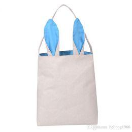 Einfache niedliche handtaschen online-Ostern Tasche Cute Bunny Ohren Portable Korb Baumwolle Leinen Festival Party Handtasche Einfache Kleinigkeiten Lagerung Kind Geschenk Praktische 8xy R