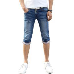 Wholesale Korean Jeans Pants For Men - Wholesale- 2017 Jeans Man Calf-Length Pants Patchwork Slim Fit Skinny Korean Tarpered Trendy Elastic Leisure Short Jeans For Mens Students