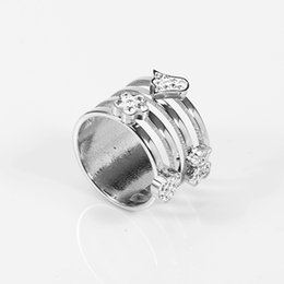 Wholesale Channel Set Stones - TL stainless steel stone ring gold plated silver plated four sizes two colors unique design new