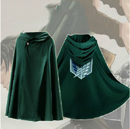 Wholesale Attack Titan Costume Mikasa - Attack On Titan Costume Green Cloak Japanese Anime Cosplay Shingeki No Kyojin Hoodie Eren Levi Mikasa Cloak Scout Legion Coat