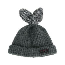 Wholesale Cuff Ribbing - Child Unisex Beanies Thick Ribbed Rabbit Ear Knit Hats Kids glasses Design Winter Warm Cuffed Caps Add Velvet Skullcap MZ5092