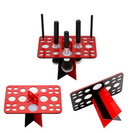 Wholesale Makeup Stands - 26Holes Brushes Display Holder Stand Acrylic Brush Showing Makeup Holder Brushes Drying Rack Stand Make Up Tools Black White Pink Red