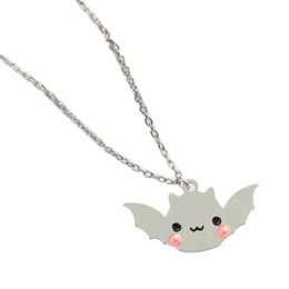 Wholesale Bat Pendants - 1 Pc Silver Plated Shiny Bat Halloween Spooky Kawaii Sweater Chain Jewelry Fashion Cute Pendant Necklace For Women