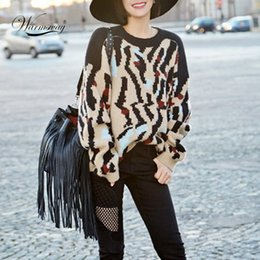 Wholesale Leopard Knit Sweater - Wholesale-High Quality Sweater Brand Leopard Print 2016 Women Long Sleeve Loose Sweater Knitted Coat Jacket Outwear Casual New WS-135