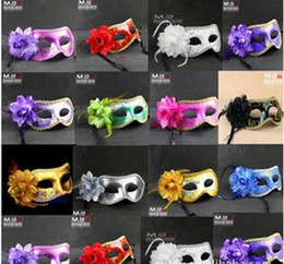 Wholesale Cat Eyes Film - 2017 Fashion Women Sexy Hallowmas Venetian eye mask masquerade masks with flower feather Easter mask dance party holiday mask drop shipping