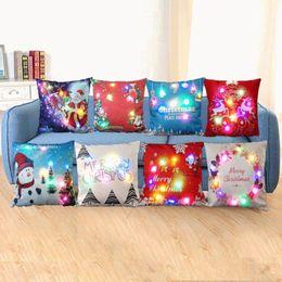 Wholesale xmas throw pillows - LED Christmas Pillow Case 45*45cm Xmas Linen Light Up Cushion Cover Throw Light Home Decor OOA3672
