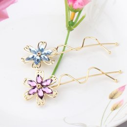 Wholesale Hairclips For Women - Wholesale- Metal Headdress Rhinestones Barrettes for Female Girls Crystal Flower Headbands Hairpins Women Sweet Hair Accessories Hairclips
