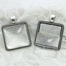 Wholesale Square Cabochons - Sweet Bell 6 set Antique silver Alloy Square 30*38mm(Fit 25*25mm dia)Cabochon Setting Pendant Bla + Clear Glass Cabochons D0709