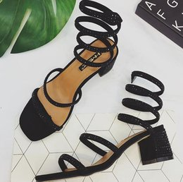 Wholesale Women High Heels Snake Sandals - 2017 European station with women's snake wrapped shoes, rough with Rome diamond around the foot sandals free shipping