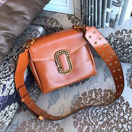 Wholesale Ladies Doctor Bag - 2017 New Wide Shoulder Bag Real Leather Lady Handbag 4Colors Women Fashion Bag High Quality Bronze Hardware #A8084