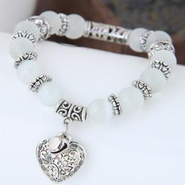 Wholesale Womens Stone Bracelets - Glasses Stone Bracelet Vintage Bangle Bracelets Womens Handmade Beads Bracelets For Women Heart Charm Pulseras Masculina