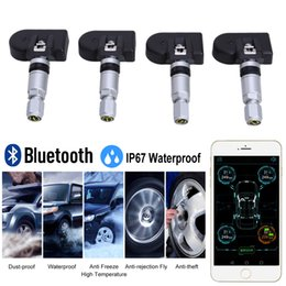 Wholesale Auto Tire Pressure Monitor - 1Set Bluetooth 4.0 TPMS Car Tire Pressure Tester Monitoring System Auto Tyre Temperature Alarm Warning with KPA, BAR PSI Switch