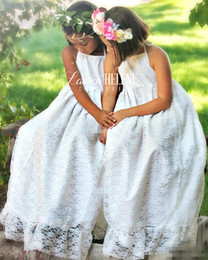 Wholesale Day Maxi Dress - White Maxi Lace Country Wedding Flower Girls Dresses Halter Neck Floor Length 2017 Bohemia Cheap Princess Baby Holy First Communion Dresses