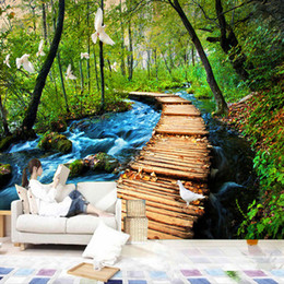 Wholesale paper roll backdrop - Wholesale-3D Wall Murals Wallpaper Chinese Natural Landscape Wooden Bridge Forest Bedding Room Sofa Backdrop Customized Photo Wallpapers