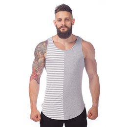 Wholesale Men Slim Fit Sexy Style - Wholesale- 2016 New Arrival Summer Style Fashion Men Crossfit Tank Shark Fitness Striped cotton Brand Slim Fit Tank Top