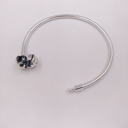 Wholesale 925 Pandora Bracelet Wholesale - Authentic 925 Sterling Silver Moments Smooth Silver Clasp Bracelet Fits European Pandora Style Jewelry Charms Beads 590728
